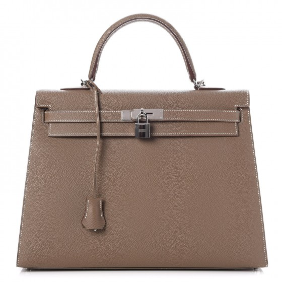 5a96829e372 Authentic HERMES Epsom Sellier Kelly 35 Etoupe or 100% of your money back.  This stunning Hermes classic handbag is beautifully crafted of stamped  epsom ...